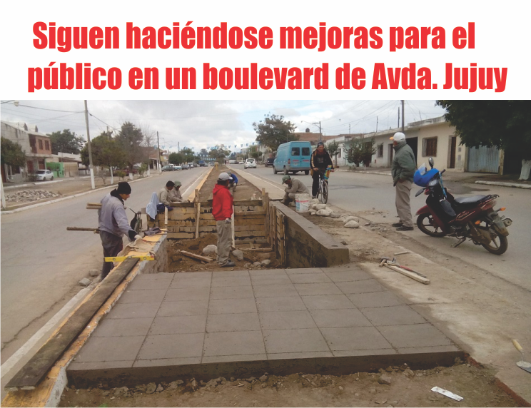 Siguen haciéndose mejoras para el público en un boulevard de Avda. Jujuy
