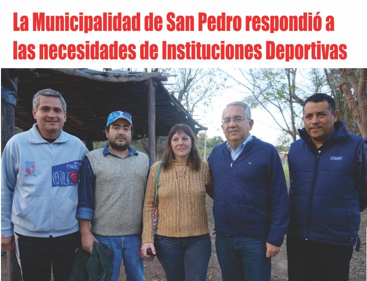 La Municipalidad de San Pedro de Jujuy respondió a las necesidades de Instituciones Deportivas
