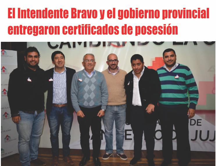 El Intendente Bravo y el gobierno provincial entregaron cetificados de posesión