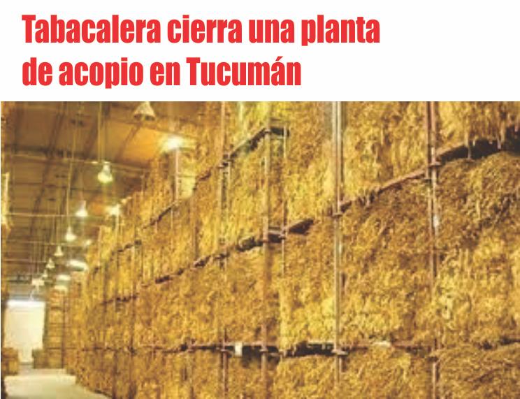Tabacalera cierra una planta de acopio en Tucumán