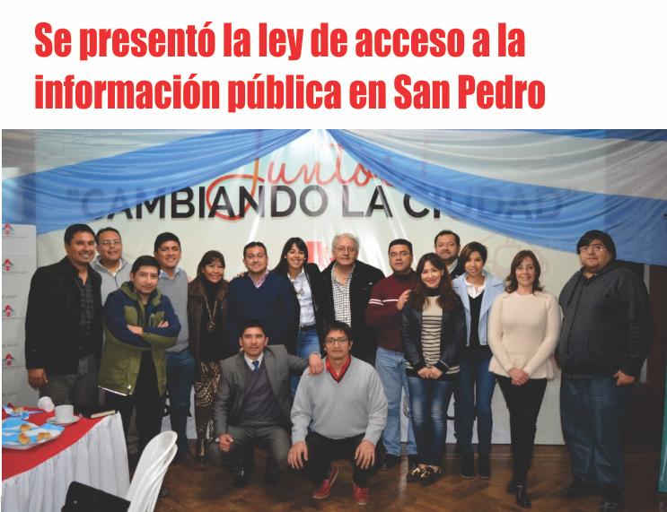 Se presentó la ley de acceso a la información pública en San Pedro