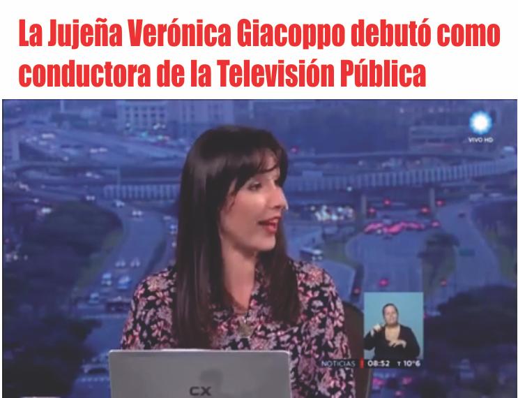 La jujeña Verónica Giacoppo debutó como conductora en la Televisión Pública
