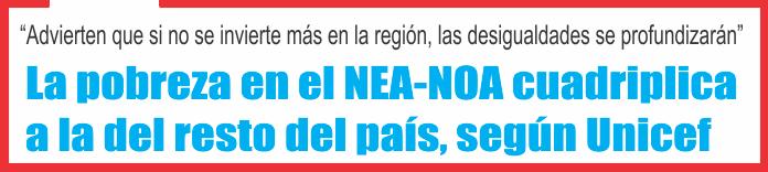 La pobreza en el NEA-NOA cuadriplica a la del resto del país, según Unicef