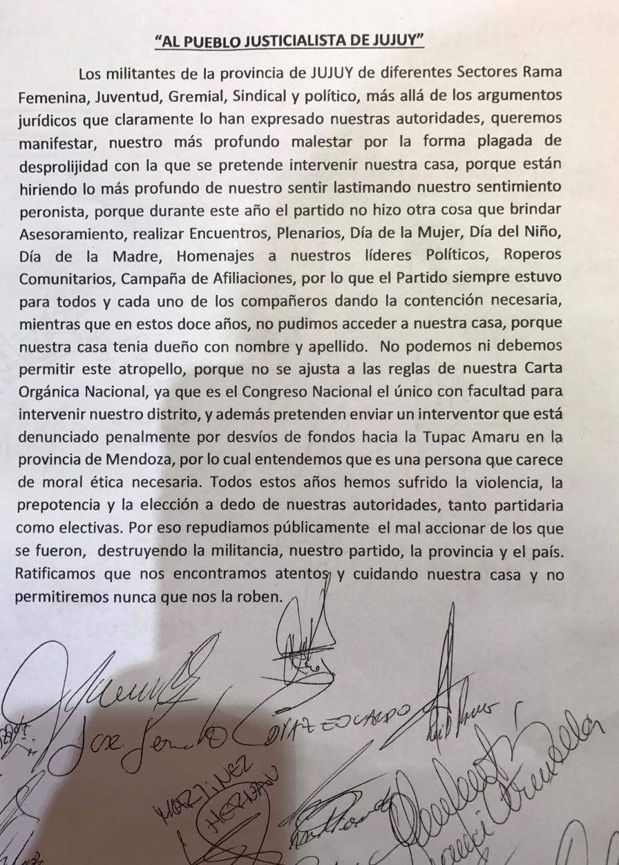 Al pueblo Justicialista de Jujuy