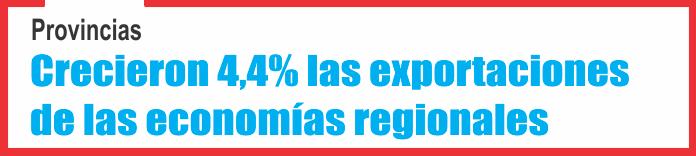 Provincias: Crecieron 4,4% las exportaciones de las economías regionales