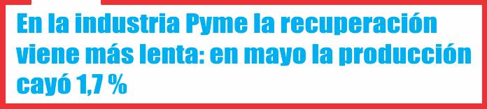 En la industria Pyme la recuperación viene más lenta: en mayo la producción cayó 1,7 %