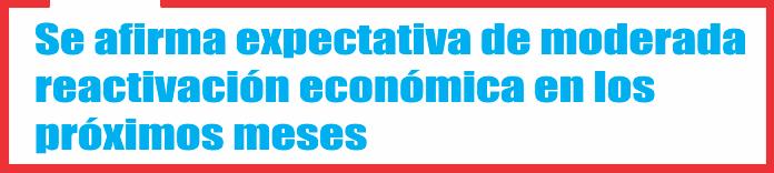 Se afirma expectativa de moderada reactivación económica en los próximos meses
