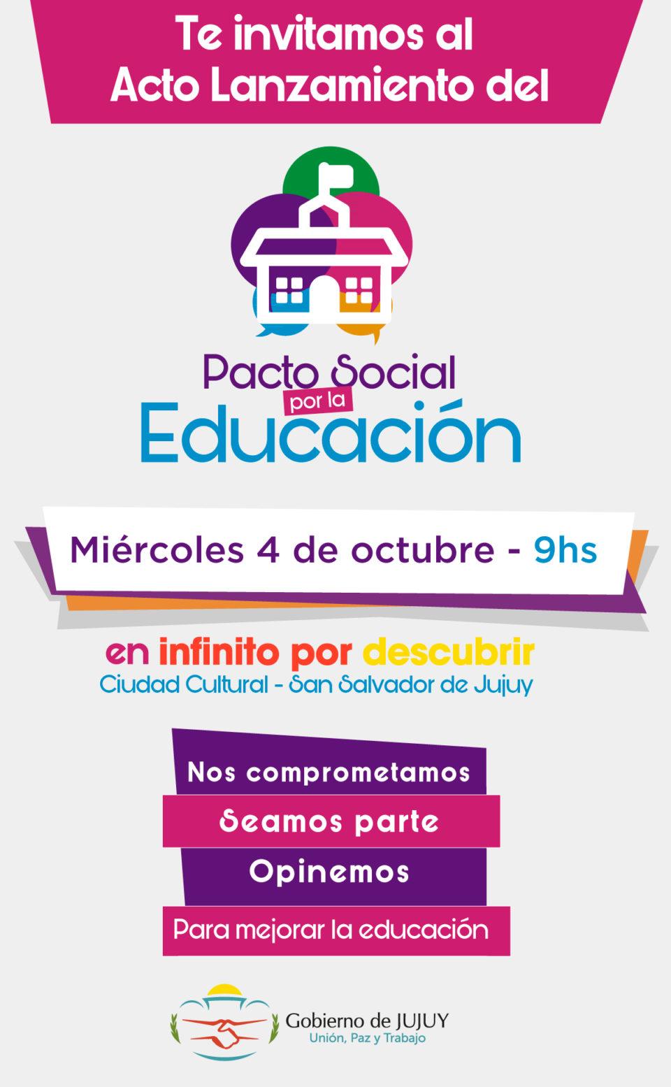 Jujuy lanza el Pacto Social por la Educación
