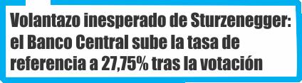 Volantazo inesperado de Sturzenegger: el Banco Central sube la tasa de referencia a 27,75% tras la votación