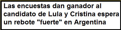 Las encuestas dan ganador al candidato de Lula y Cristina espera un rebote «fuerte» en Argentina