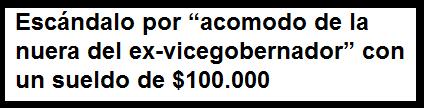 """Escándalo por """"acomodo de la nuera del ex-vicegobernador"""" con un sueldo de $100.000"""