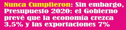 Presupuesto 2020: el Gobierno prevé que la economía crezca 3,5% y las exportaciones 7%