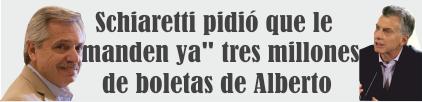 Schiaretti pidió que le «manden ya» tres millones de boletas de Alberto