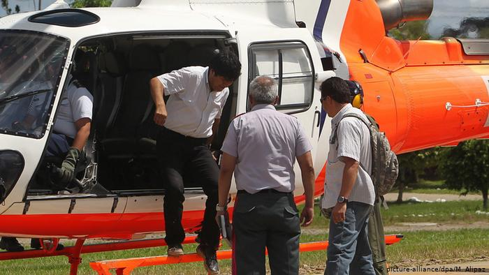 Helicóptero en que viajaba Morales sufre incidente sin dejar daños personales