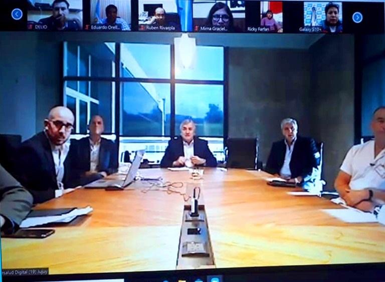 Gerardo Morales en videoconferencia con Intendentes