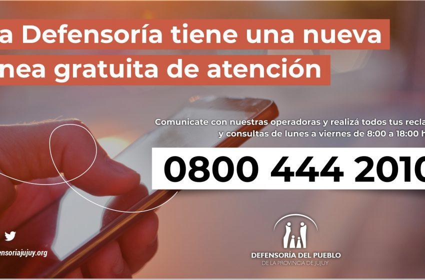 La Defensoría del Pueblo de Jujuy habilitó una línea telefónica gratuita para la atención al público